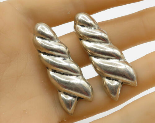 MEXICO 925 Sterling Silver - Vintage Twisted Unicorn Horn Detail Earrings E1799