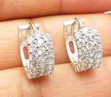 925 Silver - Cubic Zirconia Encrusted Petite Round Huggie Earrings - E4428