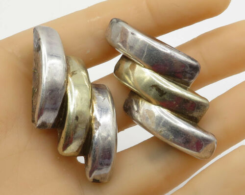 925 Sterling Silver Vintage Two Tone Stacked Semi Circle Clip On Earrings E1801