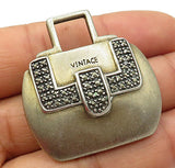 925 Sterling Silver - Vintage Marcasite Detail Purse Brooch Pin - BP1951