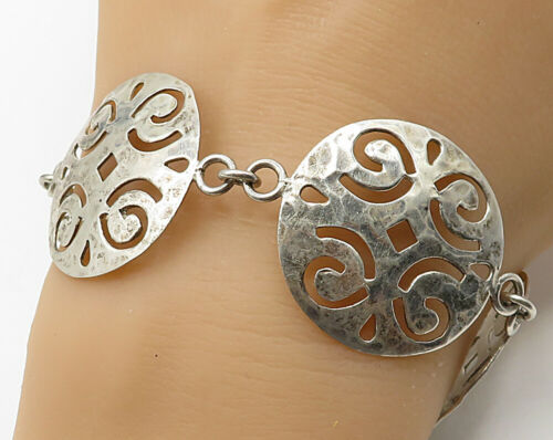 925 Sterling Silver - Vintage Swirled Cut Out Circle Detail Bracelet - B2485