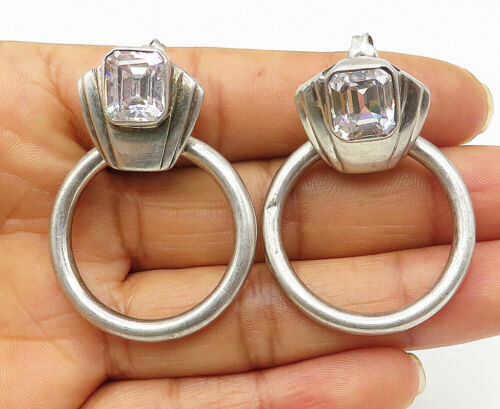 925 Silver - Vintage Cushion Cut Cubic Zirconia Hoop Dangle Earrings - E5234