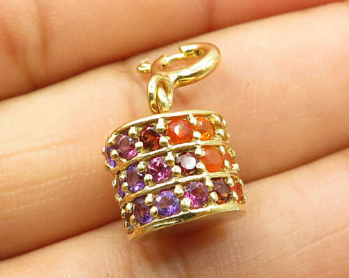 18K Gold & 925 Silver - Vintage Colorful Cubic Zirconia Cylinder Pendant - P3303