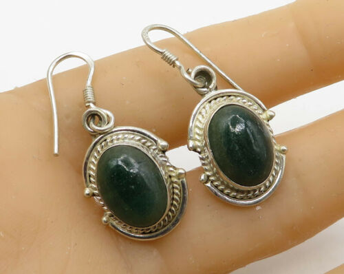 925 Sterling Silver - Vintage Cabochon Cut Gemstone Dangle Drop Earrings - E2037