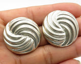 925 Sterling Silver- Vintage Round Galaxy Swirl Stud Earrings - E3582