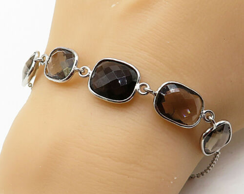 925 Sterling Silver - Vintage Faceted Smokey Quartz Chain Bracelet - B3805