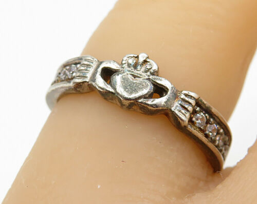 925 Sterling Silver- Vintage Cubic Zirconia Claddagh Designed Ring Sz 6 - R4629