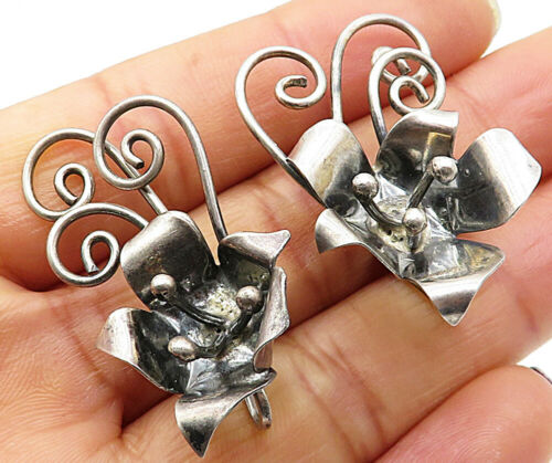 925 Silver - Vintage Sculpted Floral Non-Pierce Screw Back Earrings - E4031