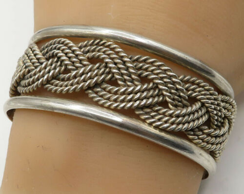 MEXICO 925 Sterling Silver - Vintage Twisted Ropes Braided Cuff Bracelet - B2152