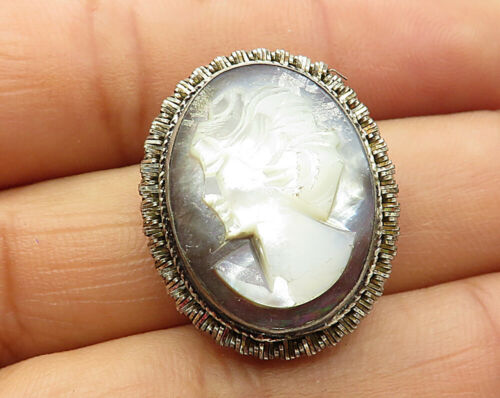 925 Silver - Vintage Mother Of Pearl Cameo Brooch Pin - BP1961