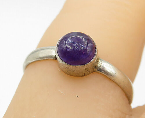 925 Sterling Silver - Vintage Cabochon Cut Amethyst Solitaire Ring Sz 6.5- R9864
