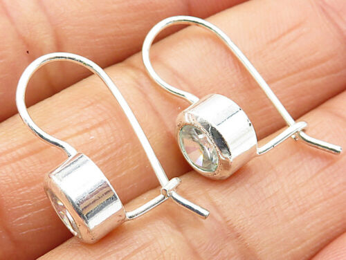 925 Sterling Silver - Vintage Round Cut White Topaz Huggie Earrings - E3974