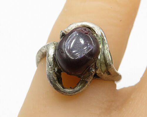 925 Sterling Silver - Vintage Carnelian Modernist Cocktail Ring Sz 5 - R6923