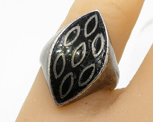 925 Sterling Silver - Vintage Antique Natural Black Onyx Ring Sz 7 - R4506