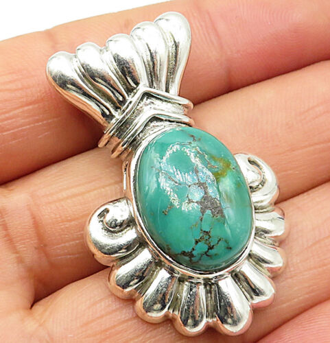 925 Sterling Silver - Vintage Green Malachite Carved Drop Pendant - P4545