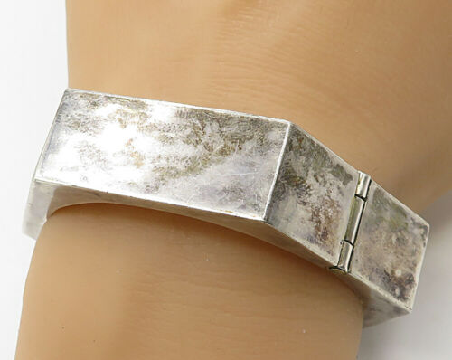 MEXICO 925 Silver - Vintage Hexagon Shaped Bangle Bracelet - B2512