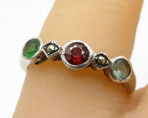 925 Sterling Silver - Vintage Multi-Gemstone Thin Band Ring Sz 7 - R5618