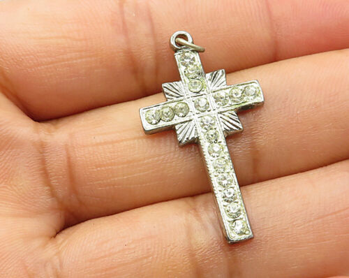 925 Sterling Silver - Vintage Geometric Cubic Zirconia Cross Pendant - P3287