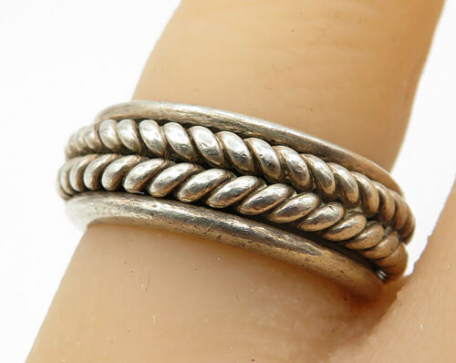 MEXICO 925 Sterling Silver - Vintage Braided Detail Band Ring Sz 5.5 - R3681