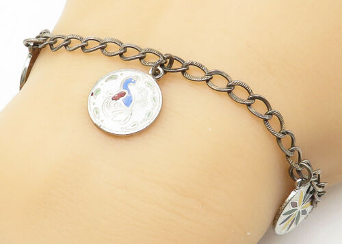 925 Silver - Vintage Enamel Decorated Charms Curb Link Chain Bracelet - B5160