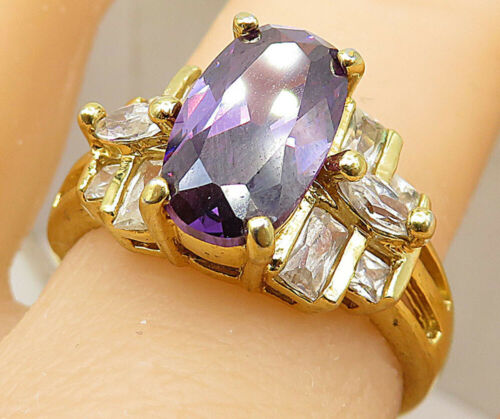 925 Silver - Amethyst & Cubic Zirconia Gold Plated Cocktail Ring Sz 9 - R9110