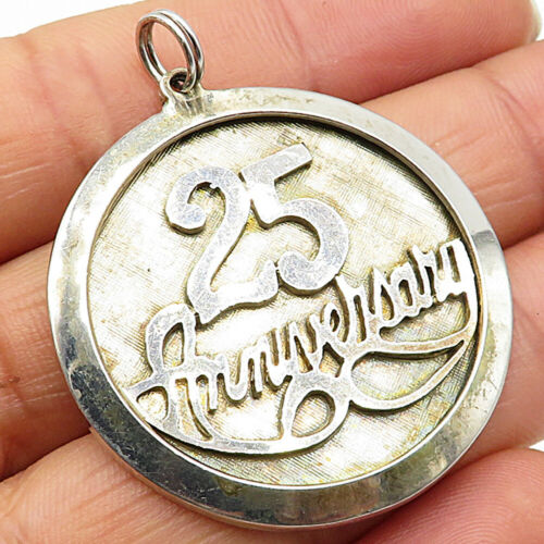 925 Sterling Silver - Vintage 25th Anniversary Quoted Pendant - P4518