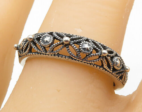 925 Sterling Silver - Floral Filigree Mini Bead Detail Band Ring Sz 9 - R7217