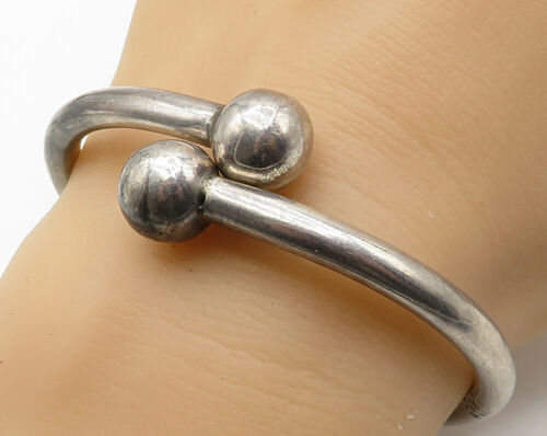 MEXICO 925 Sterling Silver - Vintage Ball Bead Bypass Bangle Bracelet - B3893