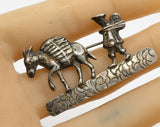 RAMIREZ 925 Sterling Silver - Antique Man Walking with Donkey Brooch Pin BP1261