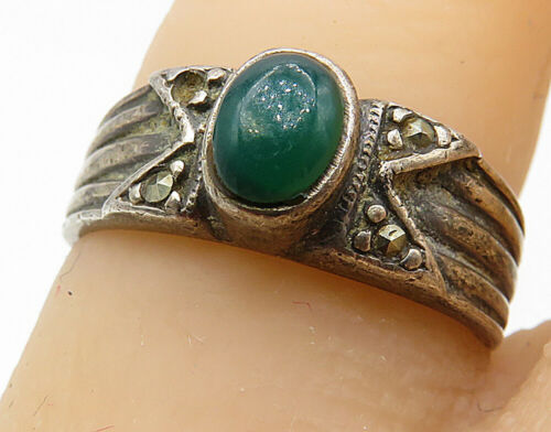 925 Silver - Vintage Green Carnelian & Marcasite Linear Band Ring Sz 5 - R7186