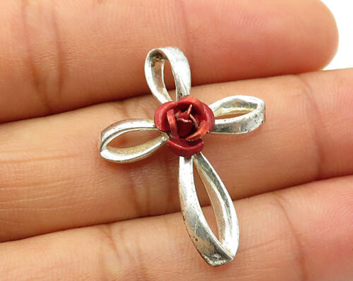 925 Sterling Silver - Vintage Floral Rose Looped Cross Pendant - P3243