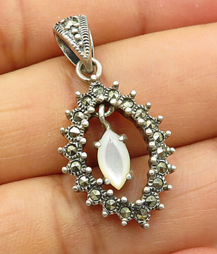 925 Sterling Silver - Vintage Marcasite & Opal Dangle Charm Pendant - P3324