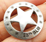 "925 Sterling Silver - Vintage ""50TH MLW"" Star Design Brooch Pin - BP2196"