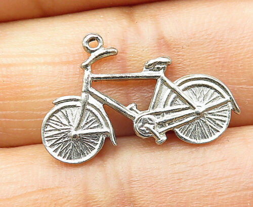 925 Sterling Silver - Vintage Petite Etched Bicycle Motif Pendant - P6562