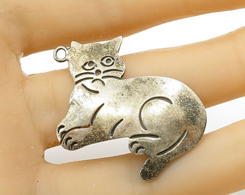 MEXICO 925 Sterling Silver - Vintage Relaxing Cat Drop Pendant - P2585