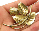 FORSTNER 925 Sterling Silver - Vintage Golden Rose Brooch Pin - BP1742