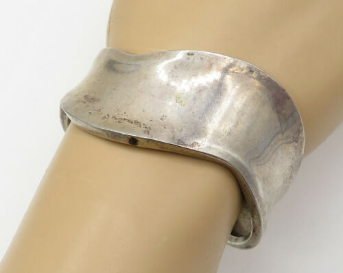 MEXICO 925 Sterling Silver - Vintage Smooth Wavy 25mm Cuff Bracelet - B1891