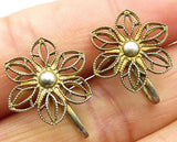 925 Sterling Silver - Vintage Laced Floral Non Pierced Screw Back Earrings E4082