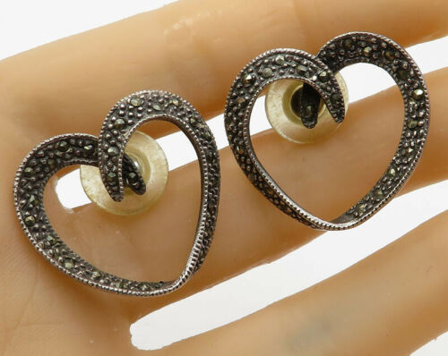 925 Sterling Silver - Vintage Marcasite Love Heart Stud Drop Earrings - E1788