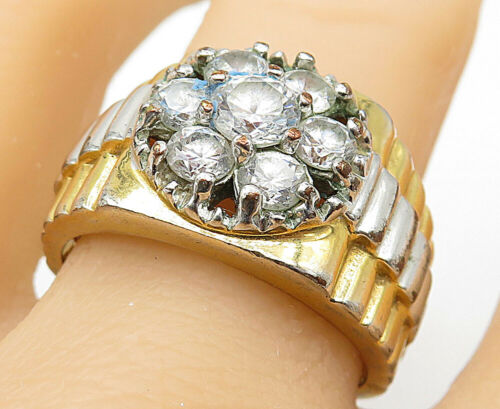 925 Silver - Round Cut Cubic Zirconia Two Tone Cluster Ring Sz 11 - R9111