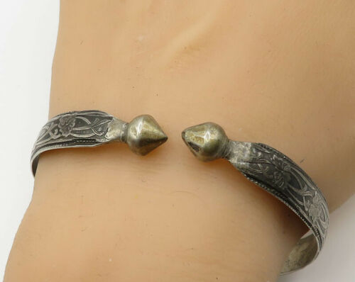 925 Silver - Vintage Antique Floral Pattern & Rose Bud Detail Bracelet - B2095