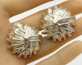 AERESS 925 Sterling Silver - Vintage Domed Floral Design Clip On Earrings E1796