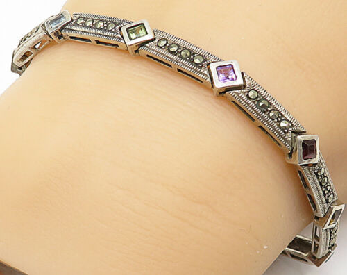 925 Silver - Vintage Multi-Gemstone Marcasite Accented Bar Chain Bracelet- B4861