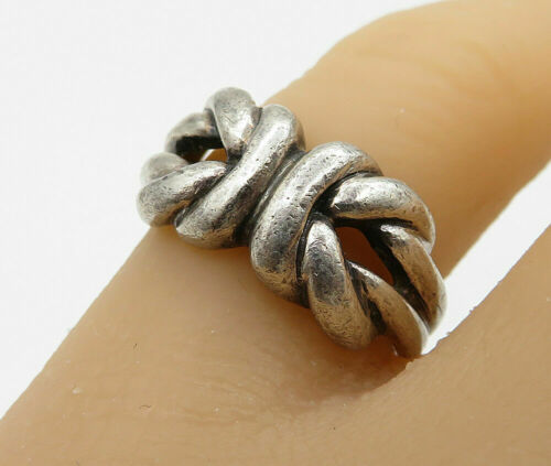 925 Sterling Silver - Vintage Square Knot Detail Band Ring Sz 6.5 - R3117