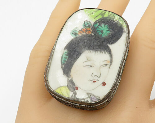 925 Silver - Antique Japanese Geisha Painting Large Royal Ring Sz 6 - R4775