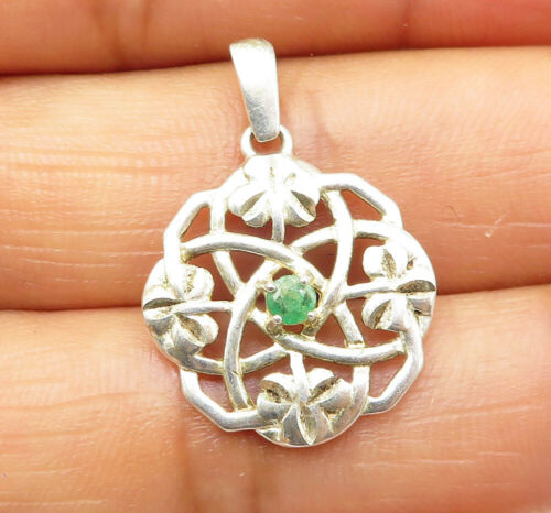 925 Sterling Silver - Emerald Accented Celtic Designed Round Drop Pendant- P6598