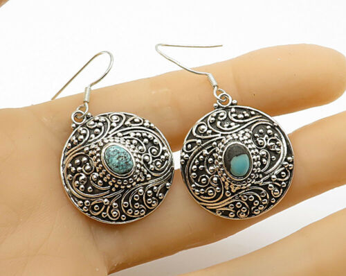 925 Silver - Vintage Cabochon Cut Turquoise Pebbled Filigree Drop Earrings E2754