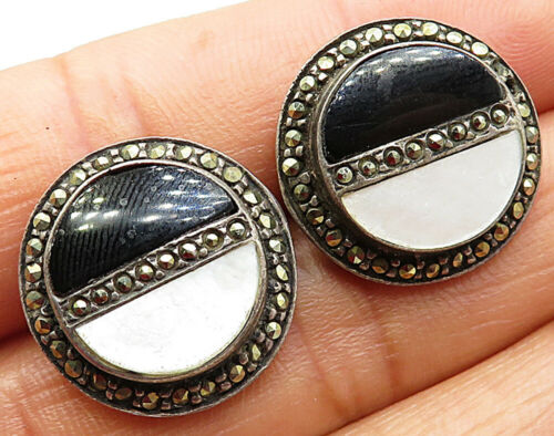925 Sterling Silver - Vintage Black Onyx Opal & Marcasite Stud Earrings - E4008