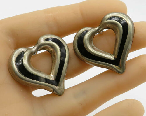 925 Sterling Silver - Vintage Black Onyx Love Heart Stud Earrings - E1614