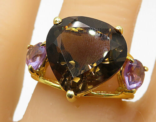 925 Silver - Smoky Quartz & Amethyst Gold Plated Cocktail Ring Sz 7 - R7272